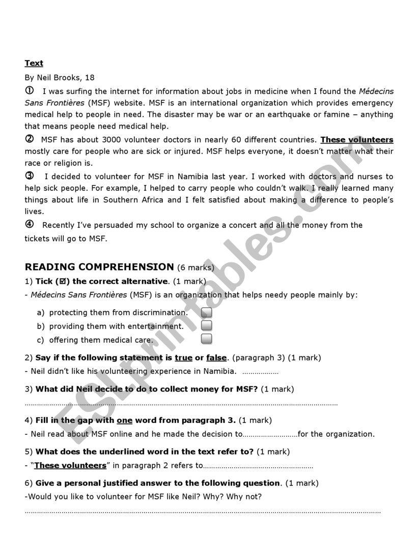 9th form test june 2021 worksheet