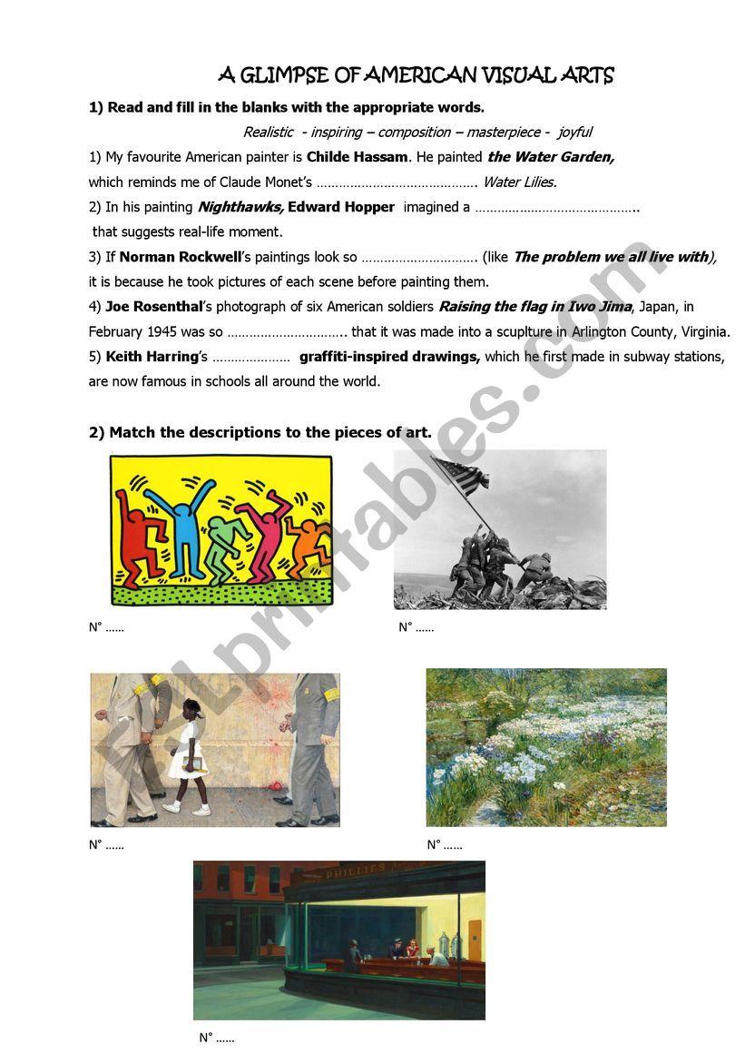 american visual arts worksheet