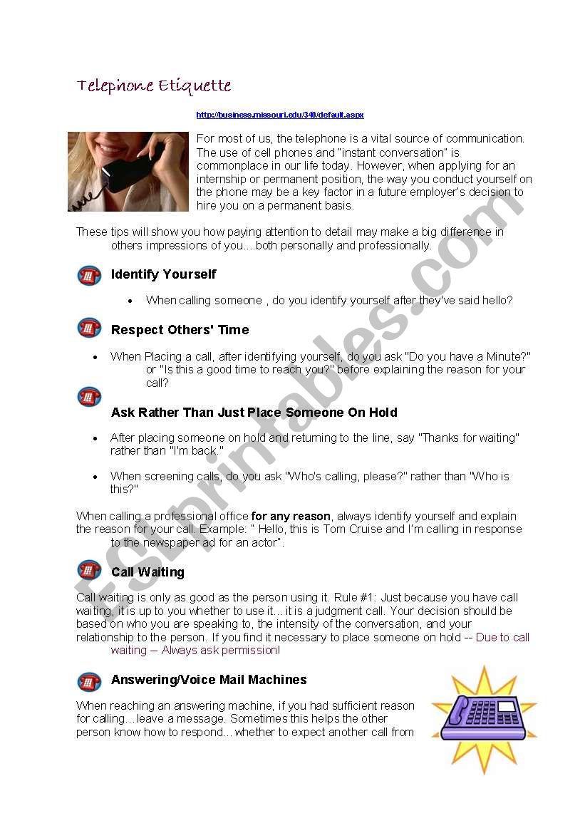 Telephone Etiquette   Business English   ESL worksheet by ...