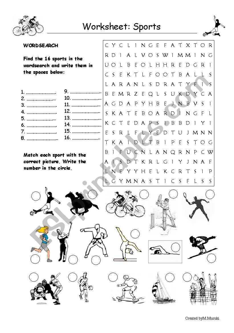 sports worksheet esl worksheet by migimusuki. Black Bedroom Furniture Sets. Home Design Ideas