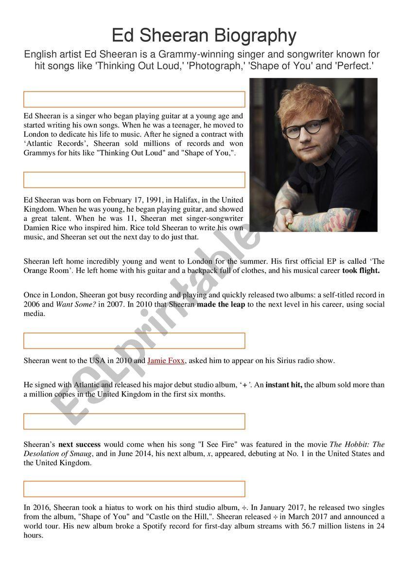Ed Sheeran Biography worksheet