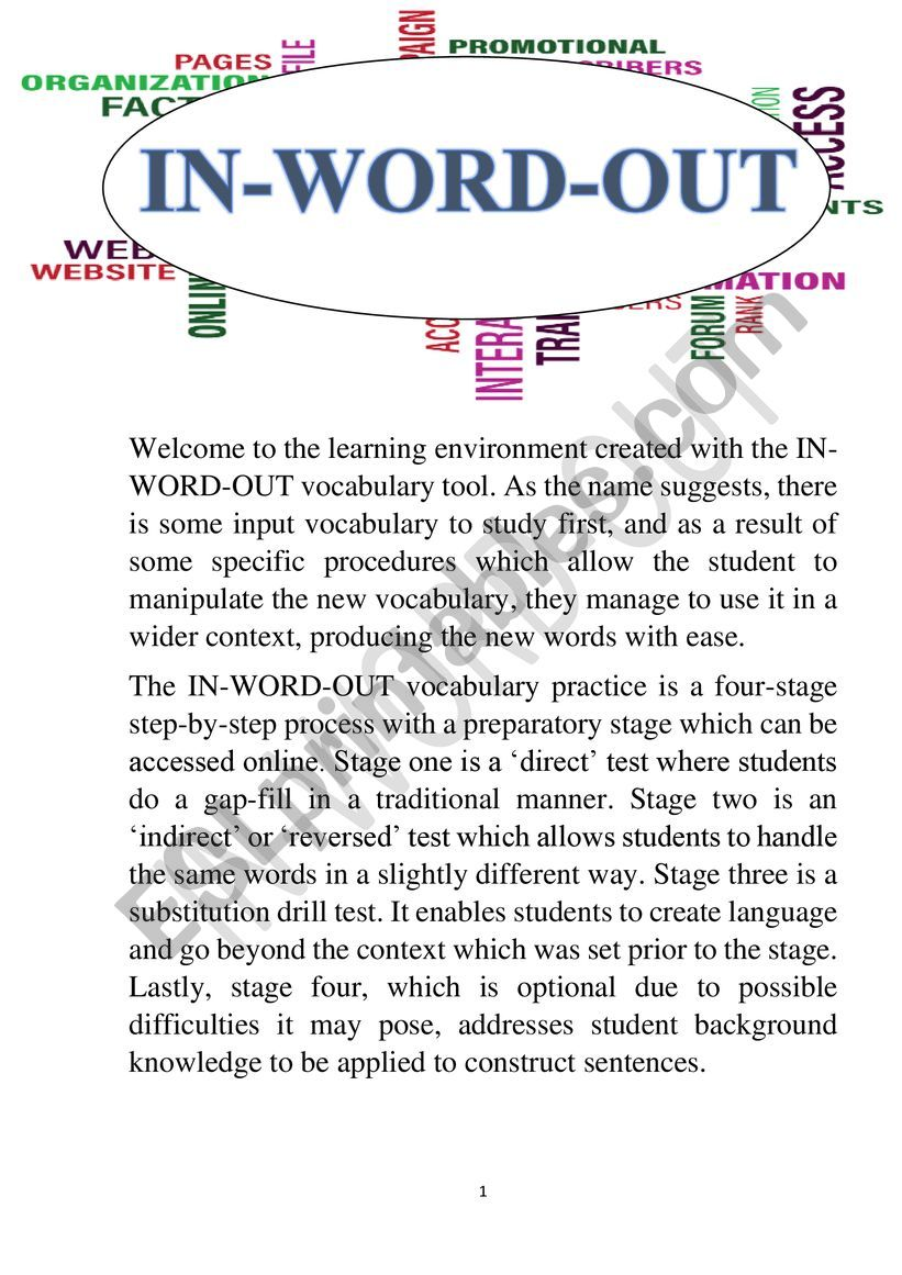 IN-WORD-OUT FOR �A� worksheet