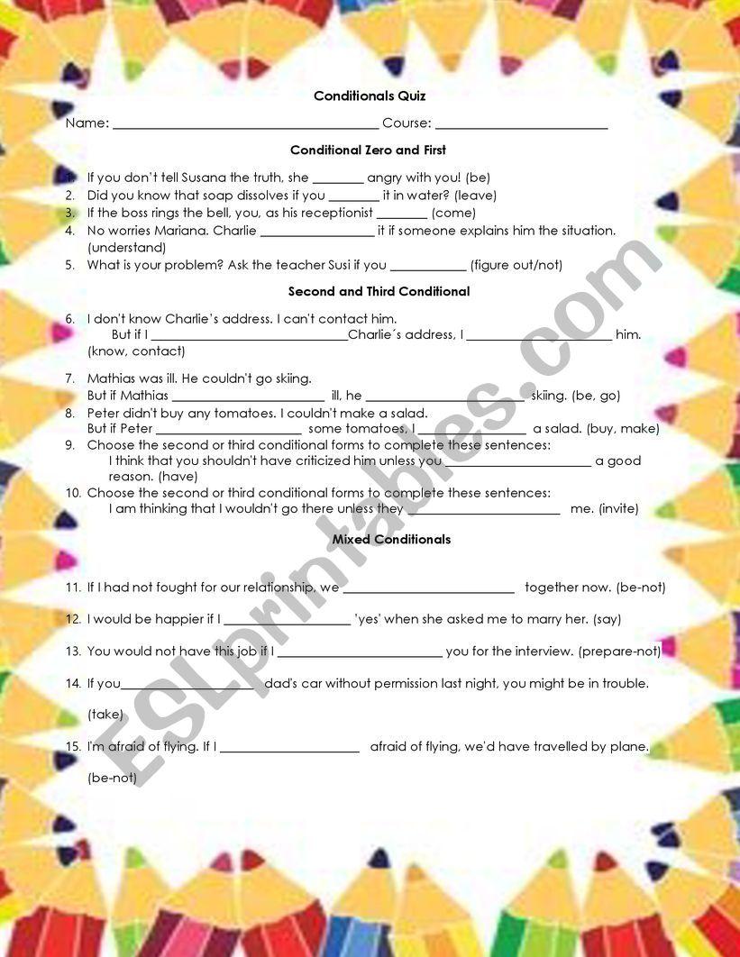 Conditionals worksheet