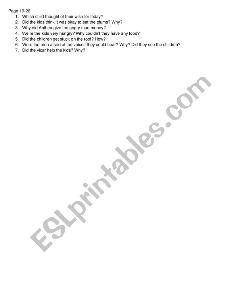 Five Children and It - chapter 3 gist questions classroom worksheet