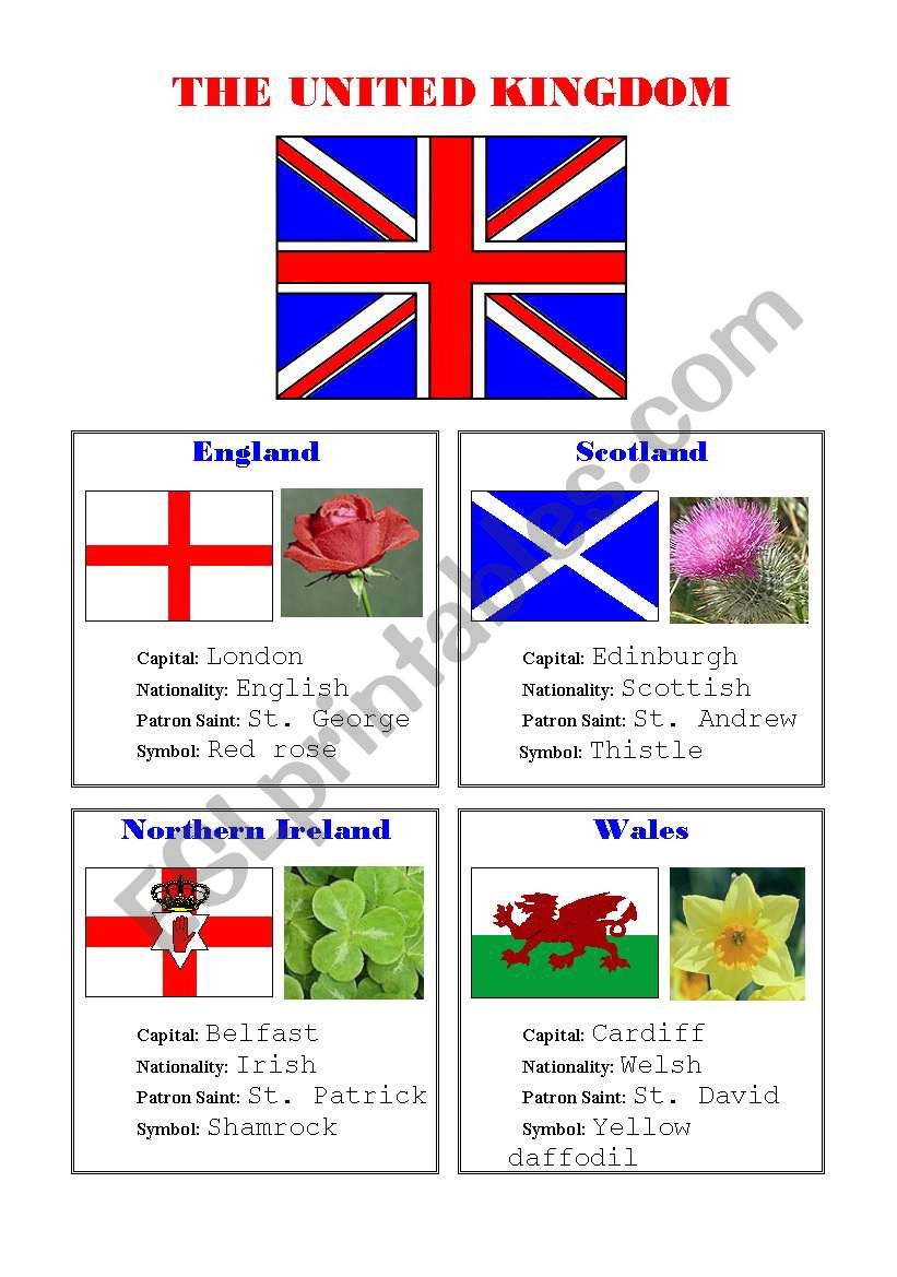 FLAGS AND SYMBOLS OF THE UK worksheet
