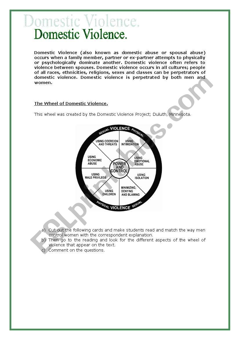 Worksheets Domestic Violence Worksheets domestic violence esl worksheet by e teacher worksheet