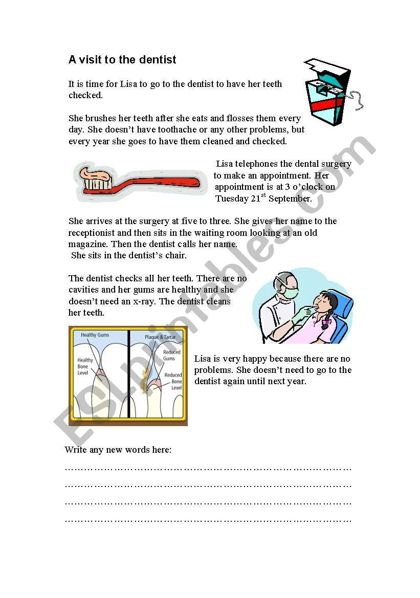 A visit to the dentist worksheet