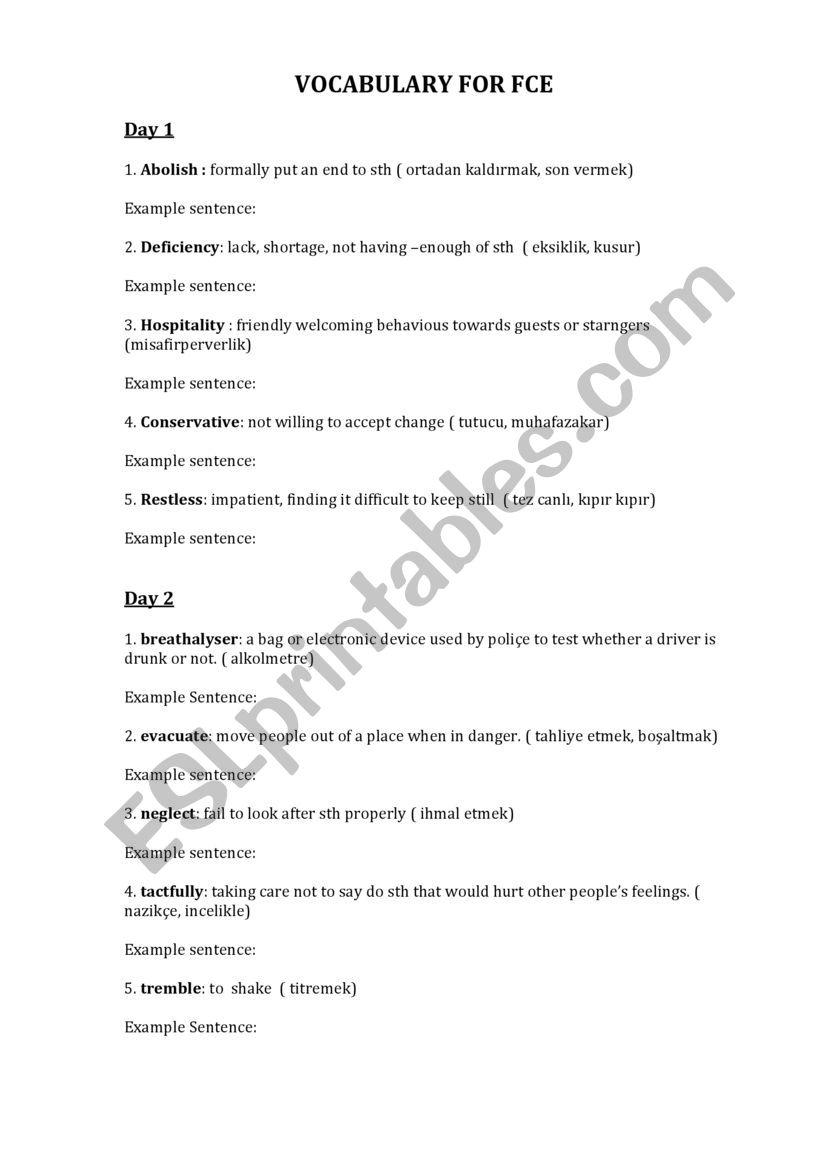 VOCABULARY FOR FCE worksheet