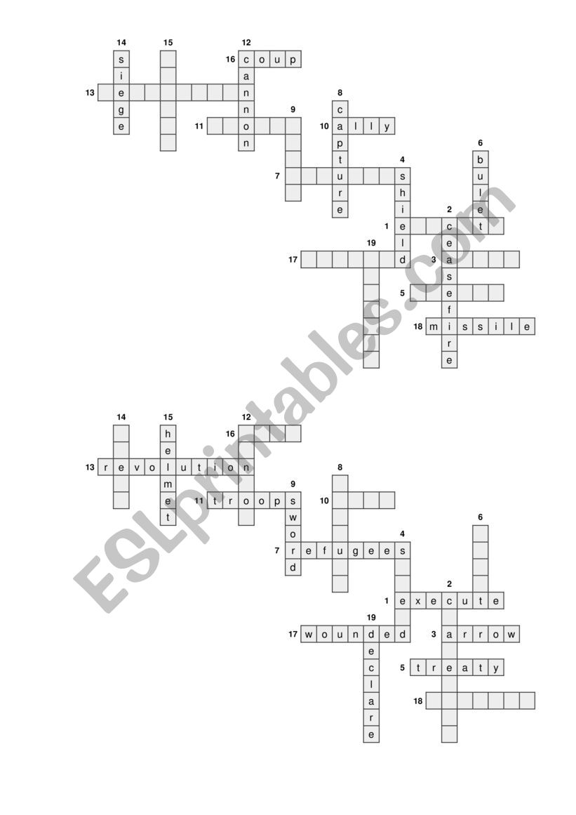 Warfare half crossword worksheet