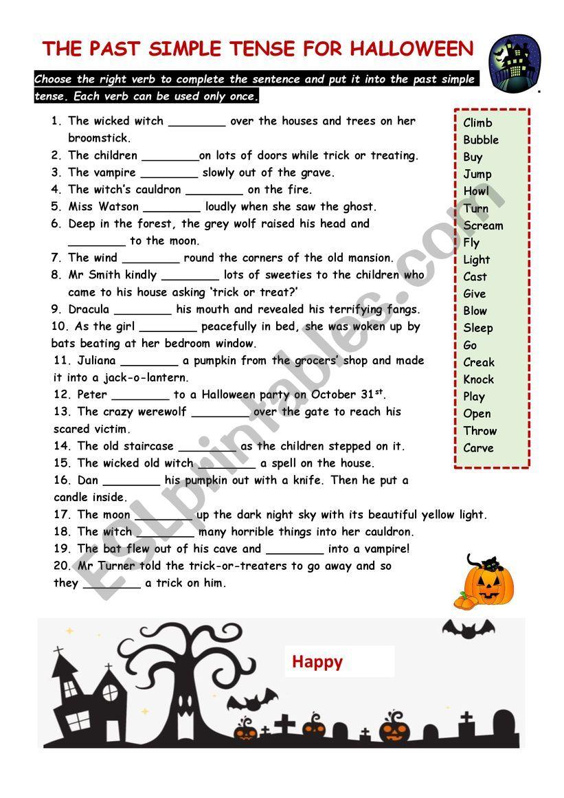 Gap fill for halloween worksheet