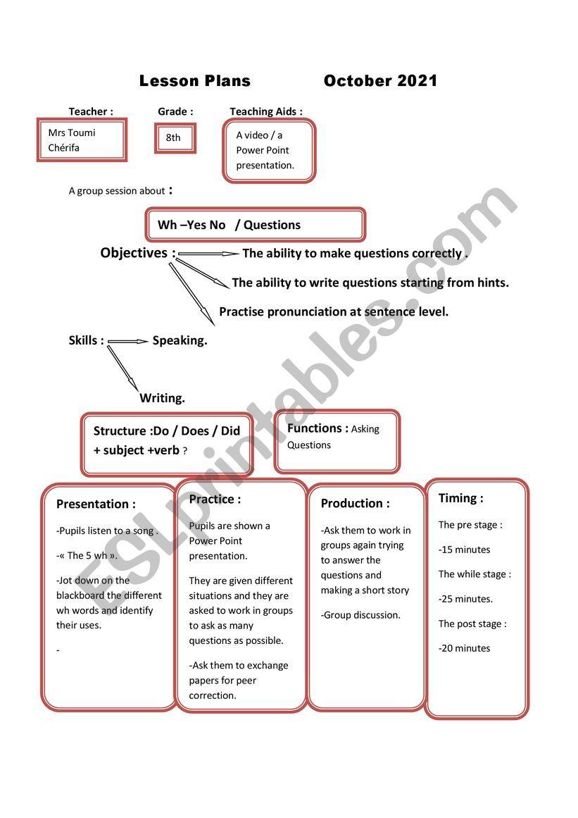 lesson plans worksheet