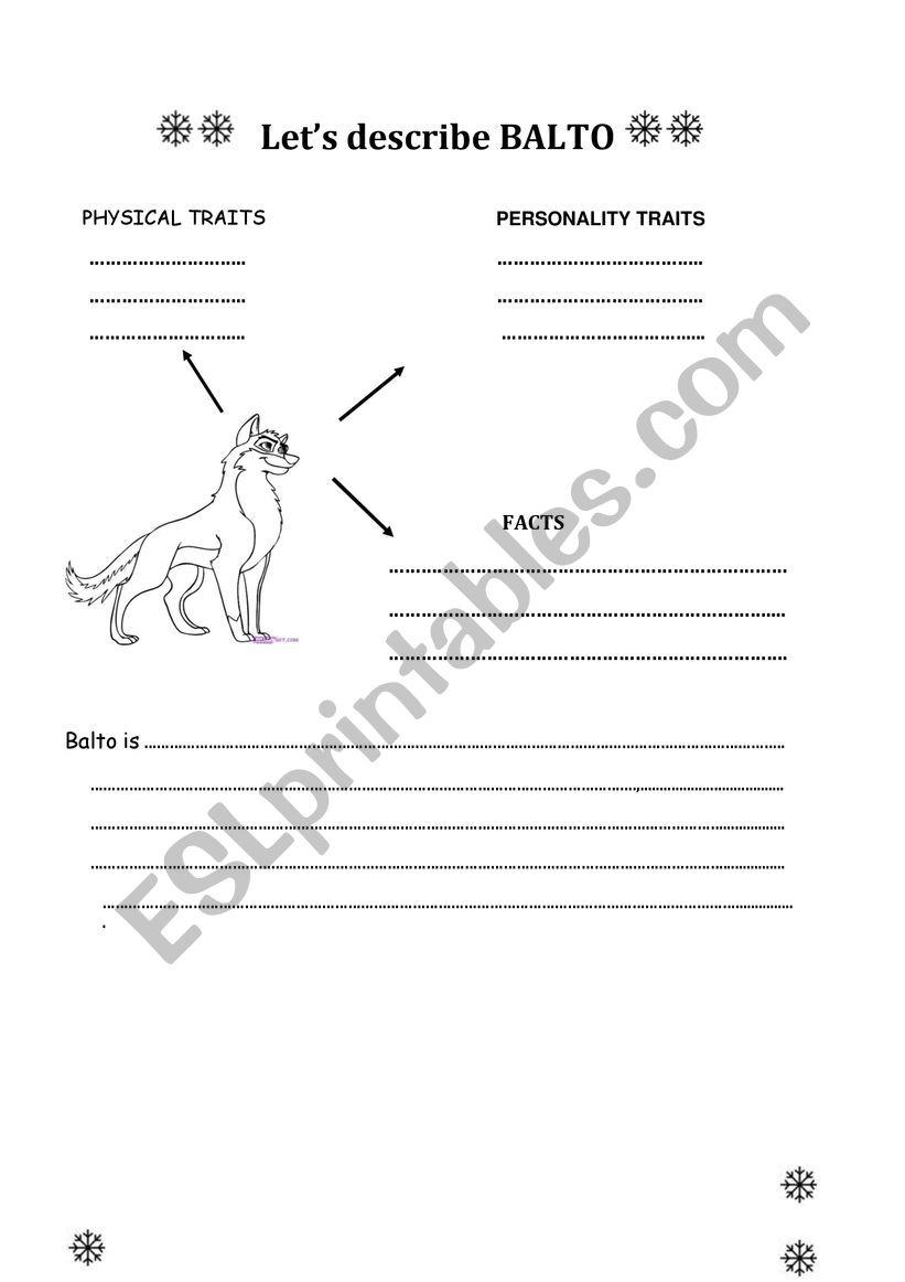Description -Balto worksheet