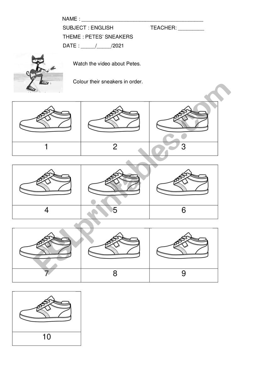 Pete the cat and his sneakers worksheet