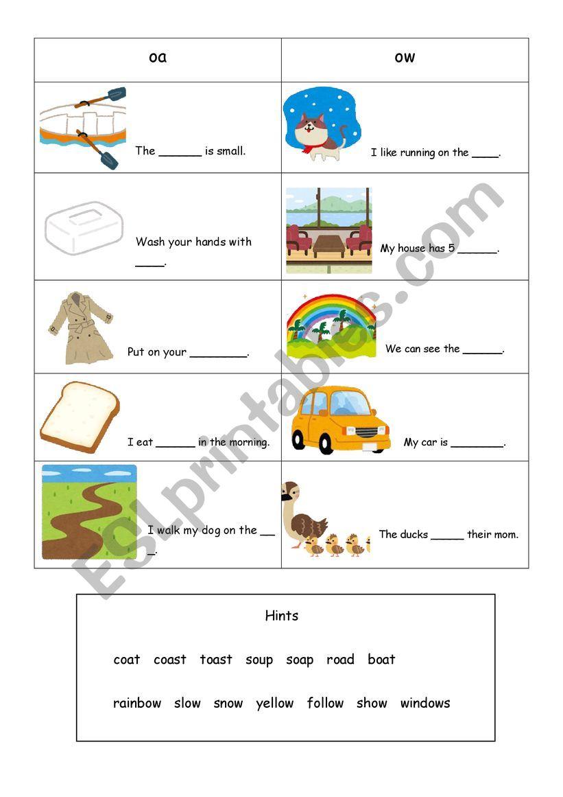 phonics(oa,ow) worksheet