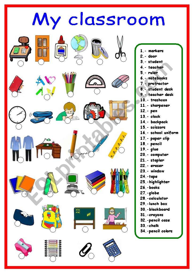 Classroom objects and school supplies