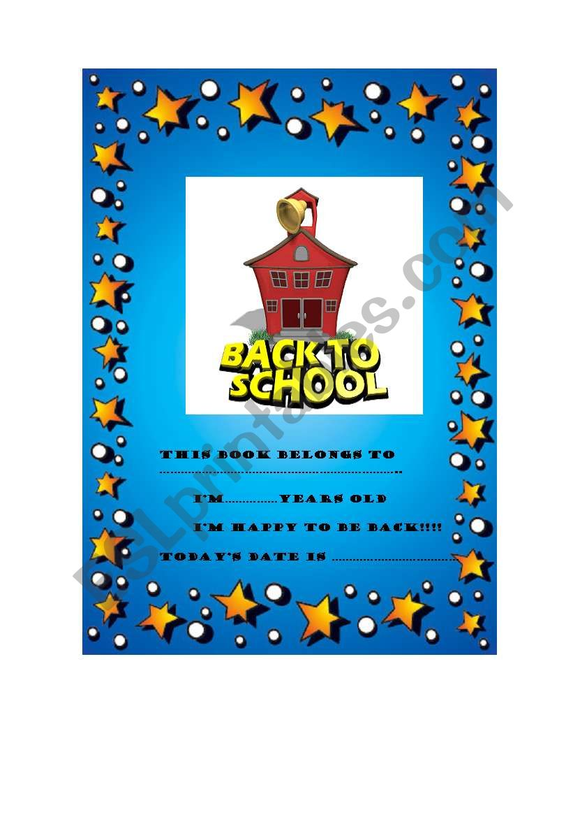 Bacl to School Book worksheet