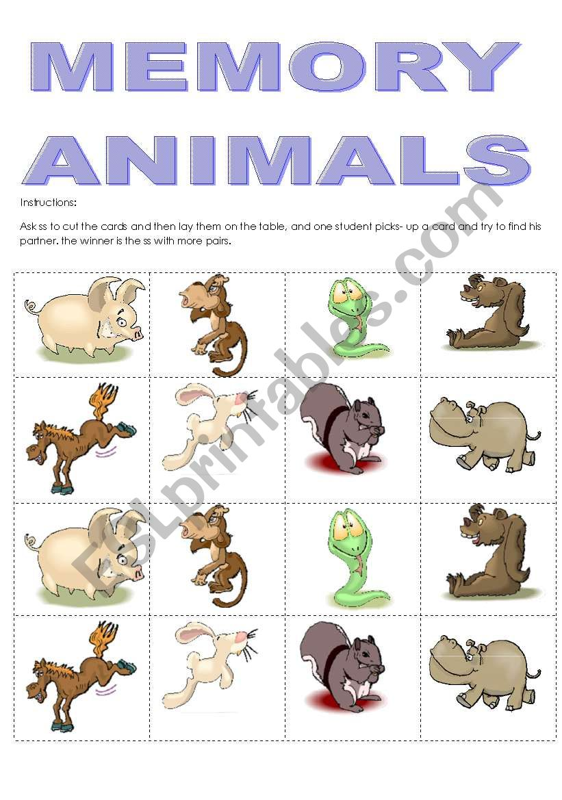 MEMORY ANIMALS worksheet