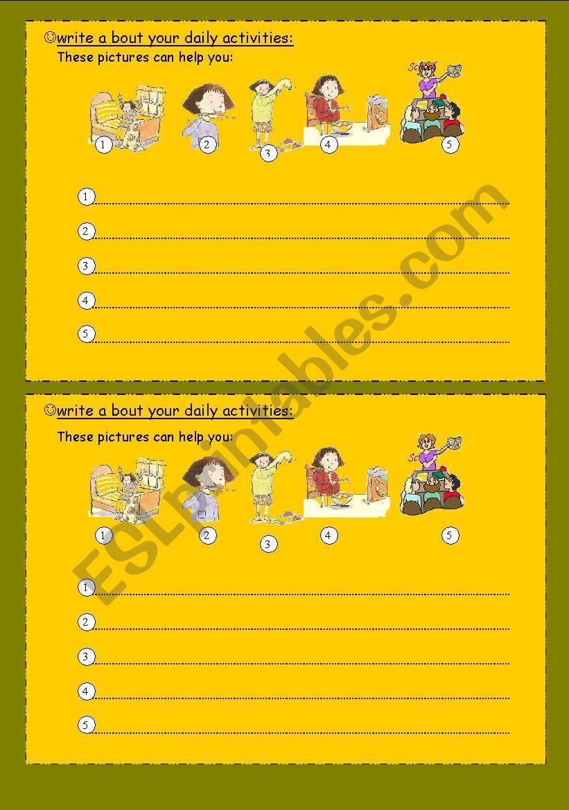 Daily Routines Worksheetsmy Activities Esl Worksheet By Miss Uae