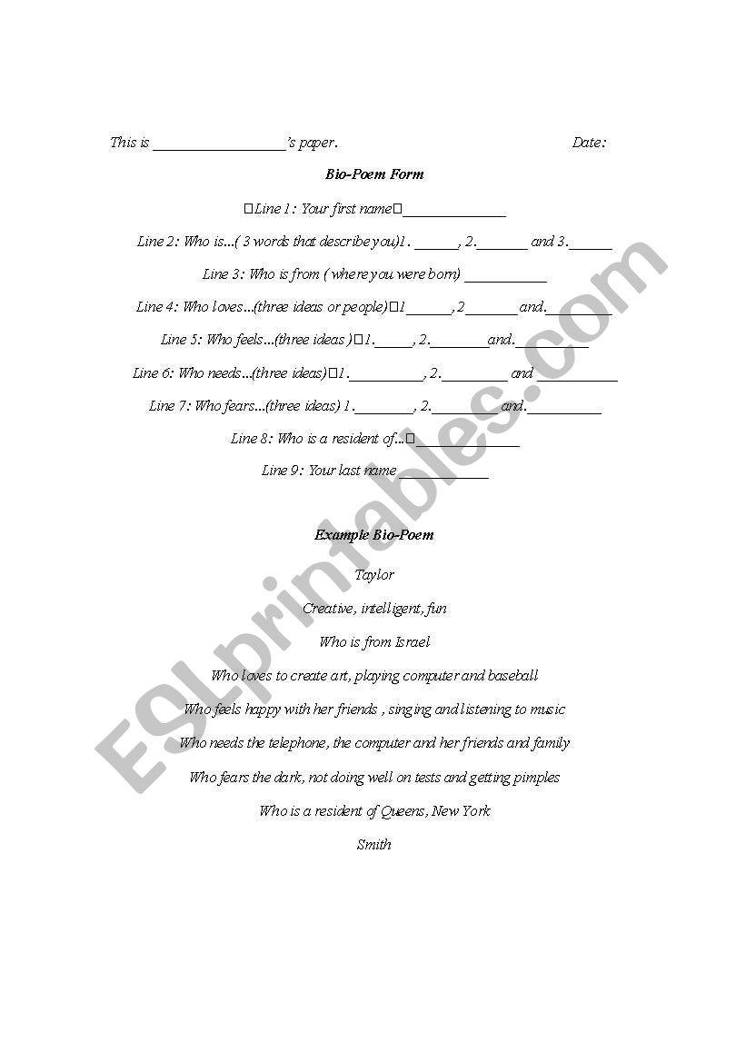 English Worksheets Bio Poem