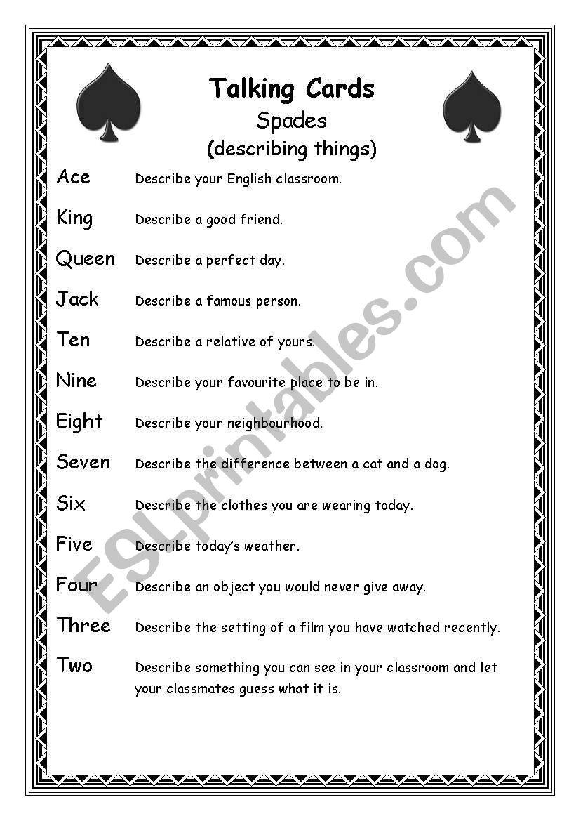 Talking Cards (part 1) worksheet