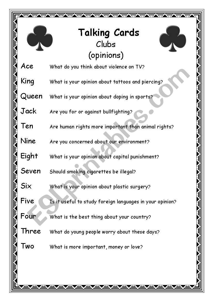 Talking Cards (part 2) worksheet