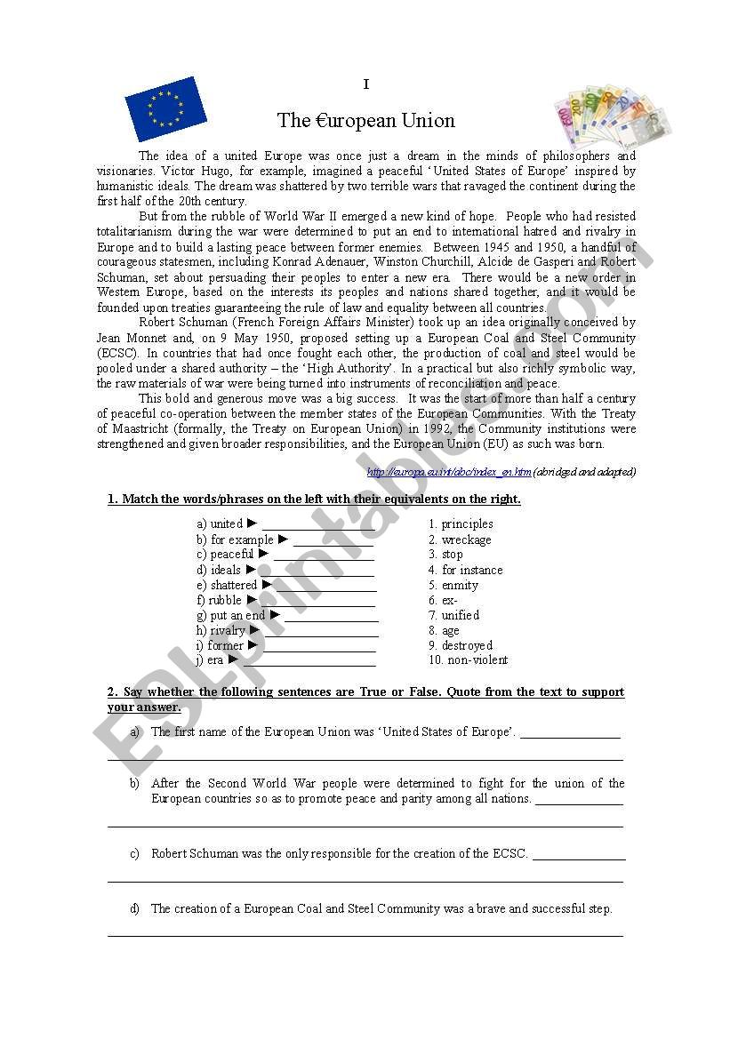 Europe Test worksheet
