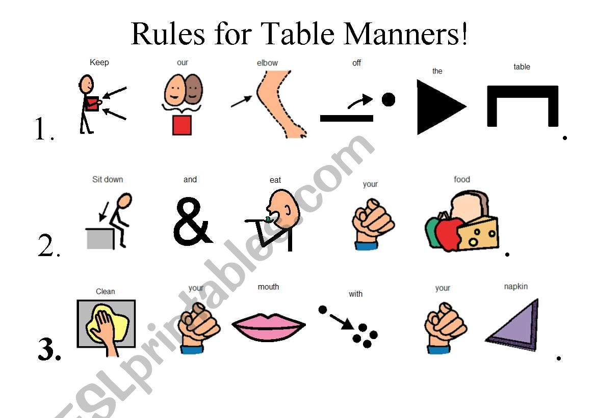 Table Manners Esl Worksheet By Berrydawson08
