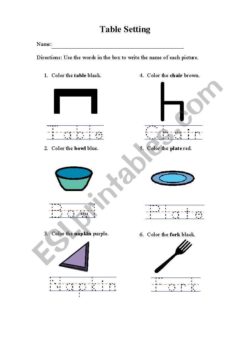 Table Setting 4 worksheet