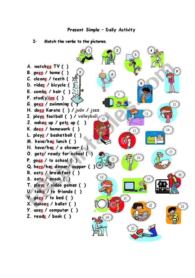Daily activity verbs worksheet