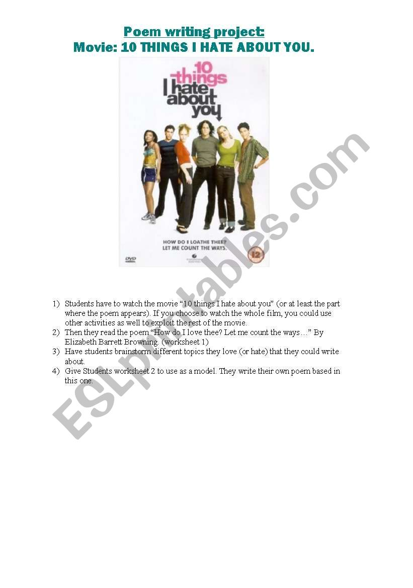 10 Things I Hate About You Lesson Plan Esl Worksheet By