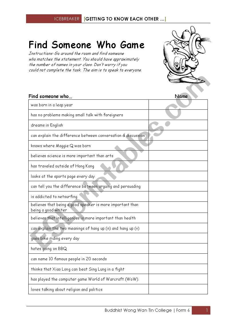 Find Someone Who - ESL worksheet by shlinder