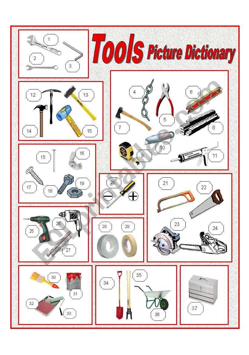 Tools Picture Dictionary (full page)