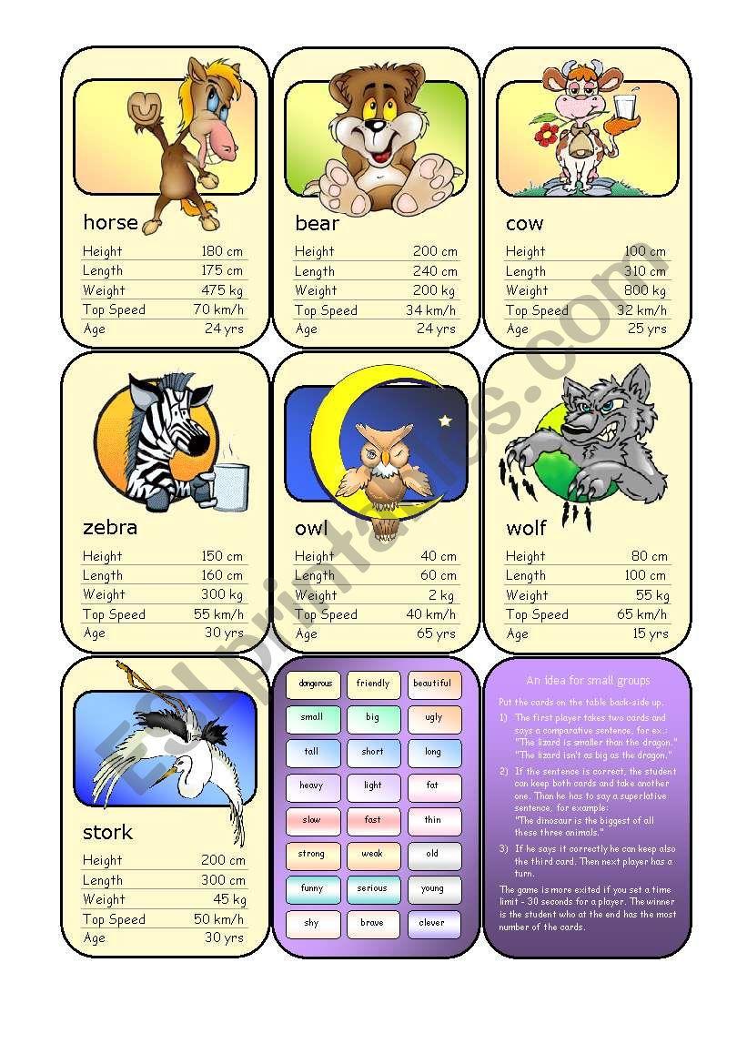 Animal Card Game (6) worksheet