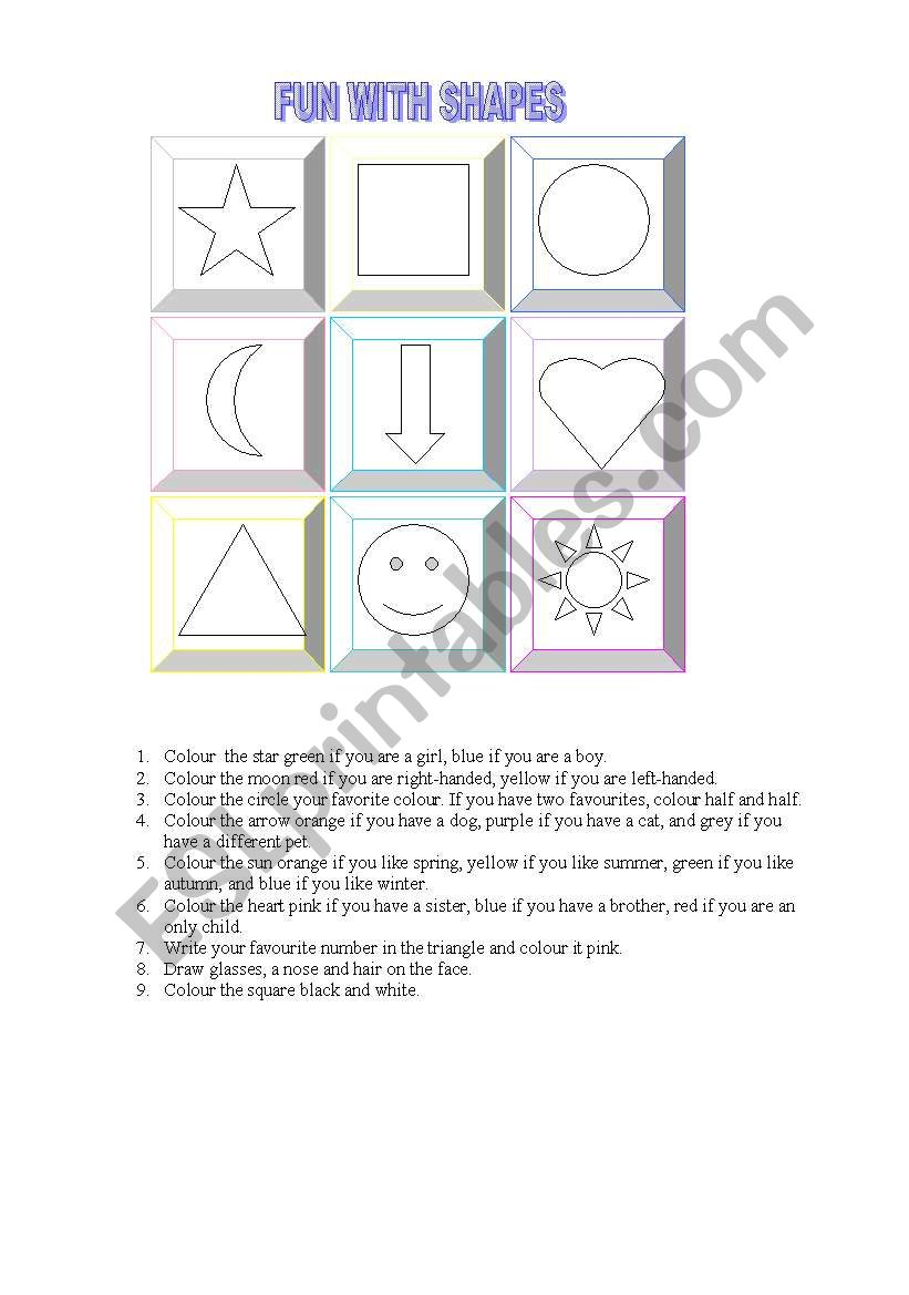 FUN WITH SHAPES worksheet