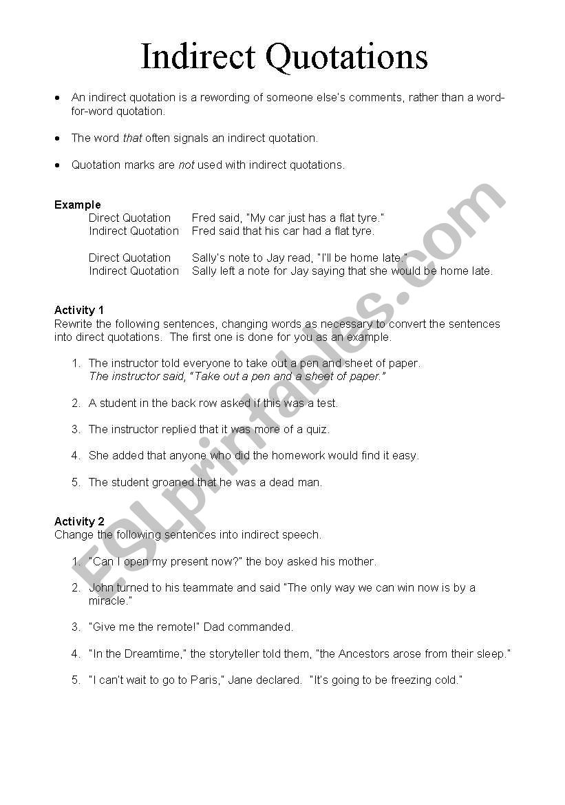 worksheet Quotations Worksheet english worksheets indirect quotations worksheet