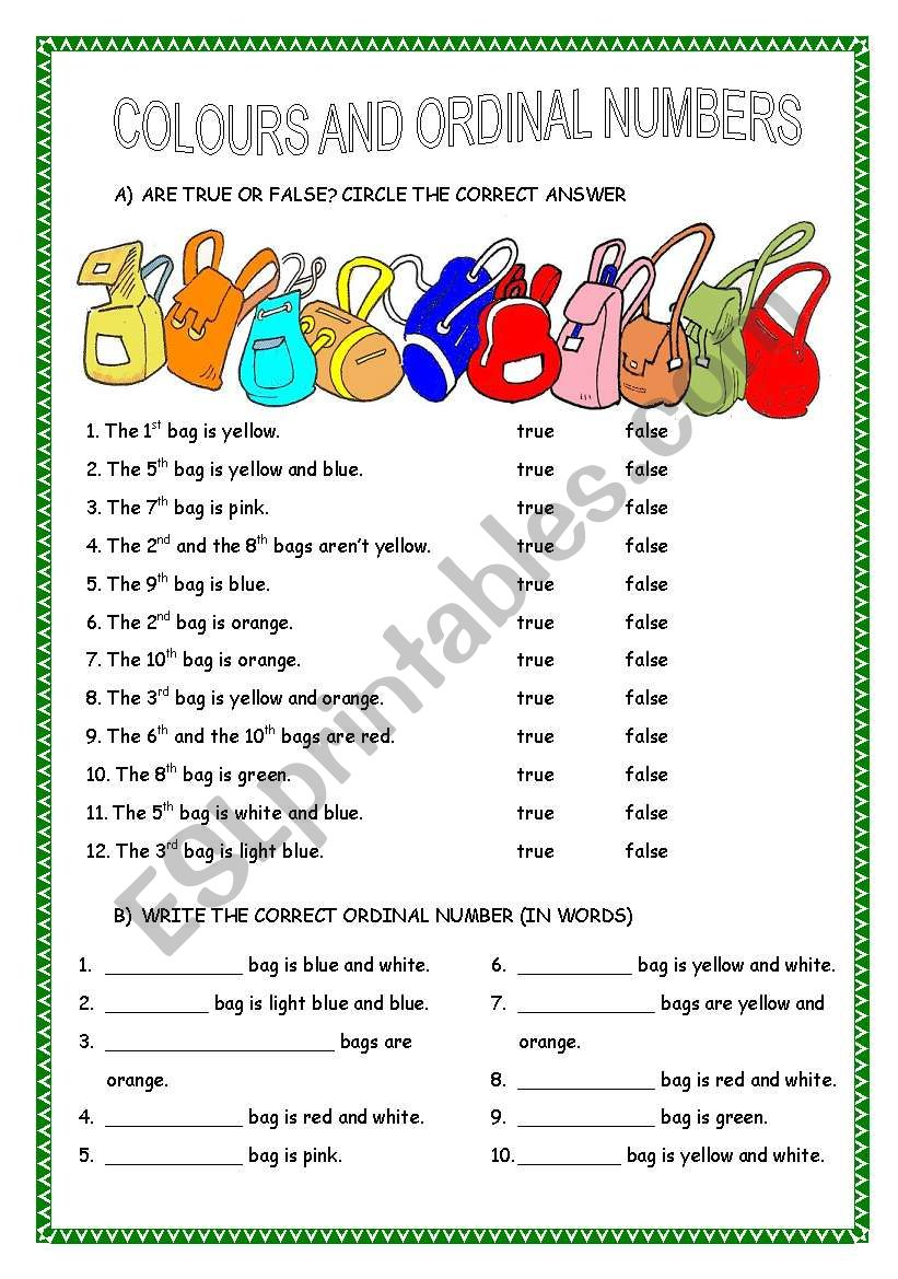 COLOURS AND ORDINAL NUMBERS worksheet