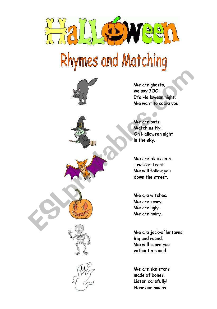 Halloween Rhymes and Matching worksheet