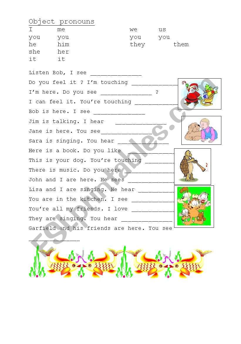 Object pronouns, exercise worksheet