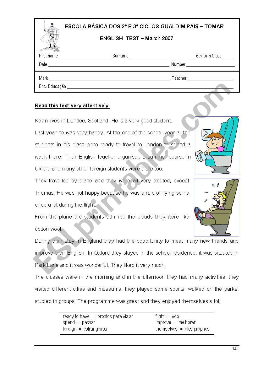 English Test 6th form worksheet