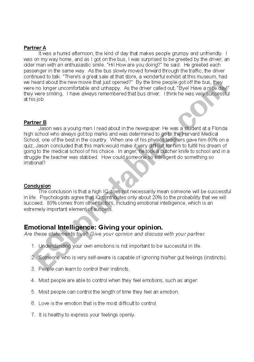 Emotional Intelligence worksheet