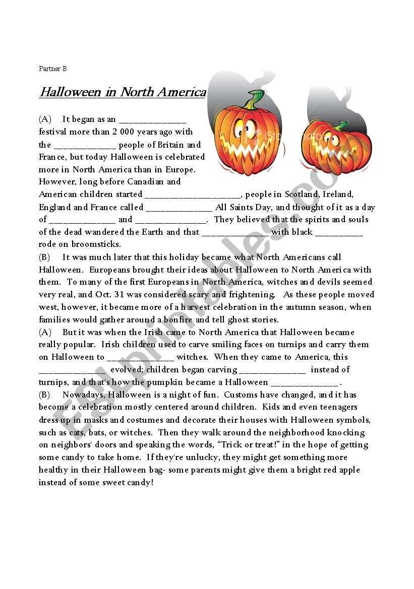 Halloween in North America worksheet