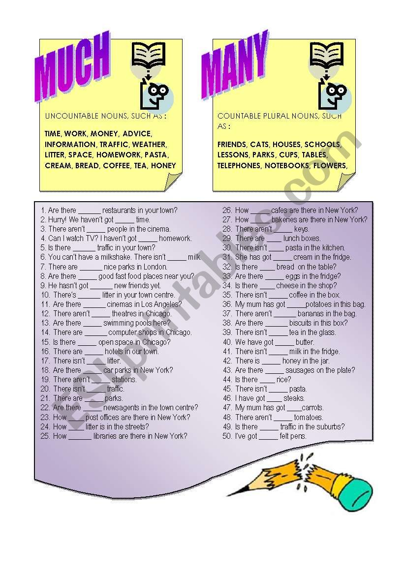 MUCH or MANY ? worksheet