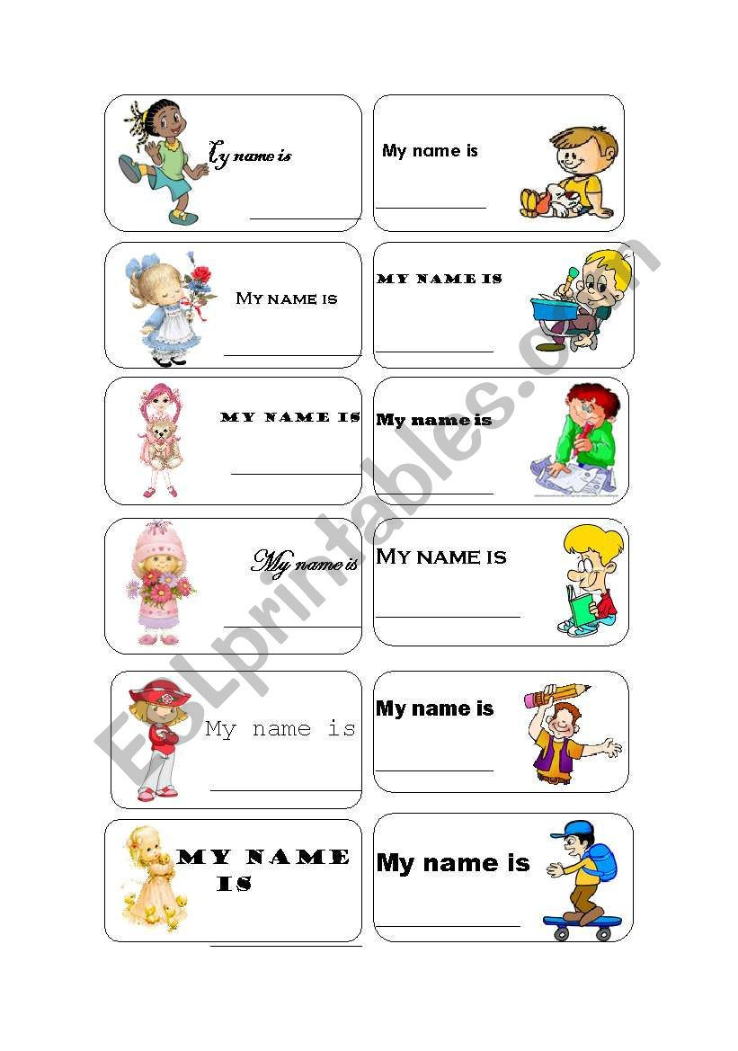 Name tags worksheet