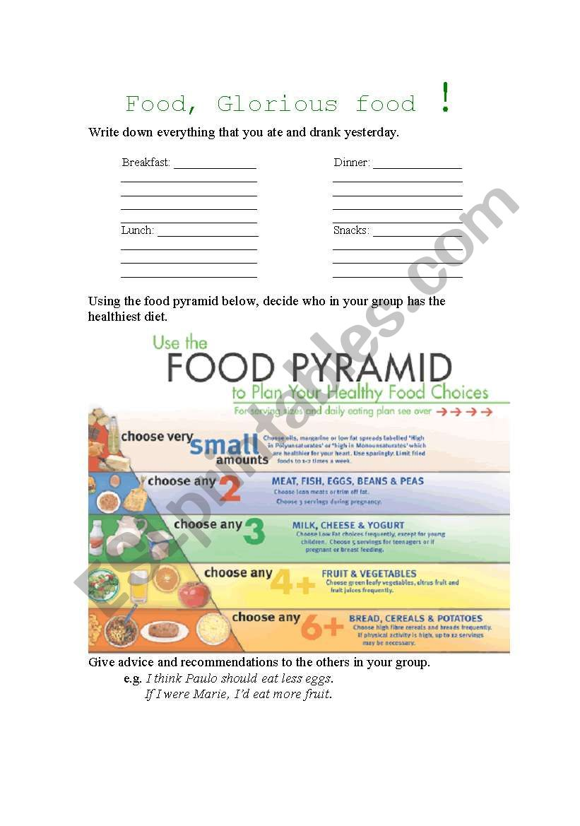 Food, Glorious Food (Adults) worksheet