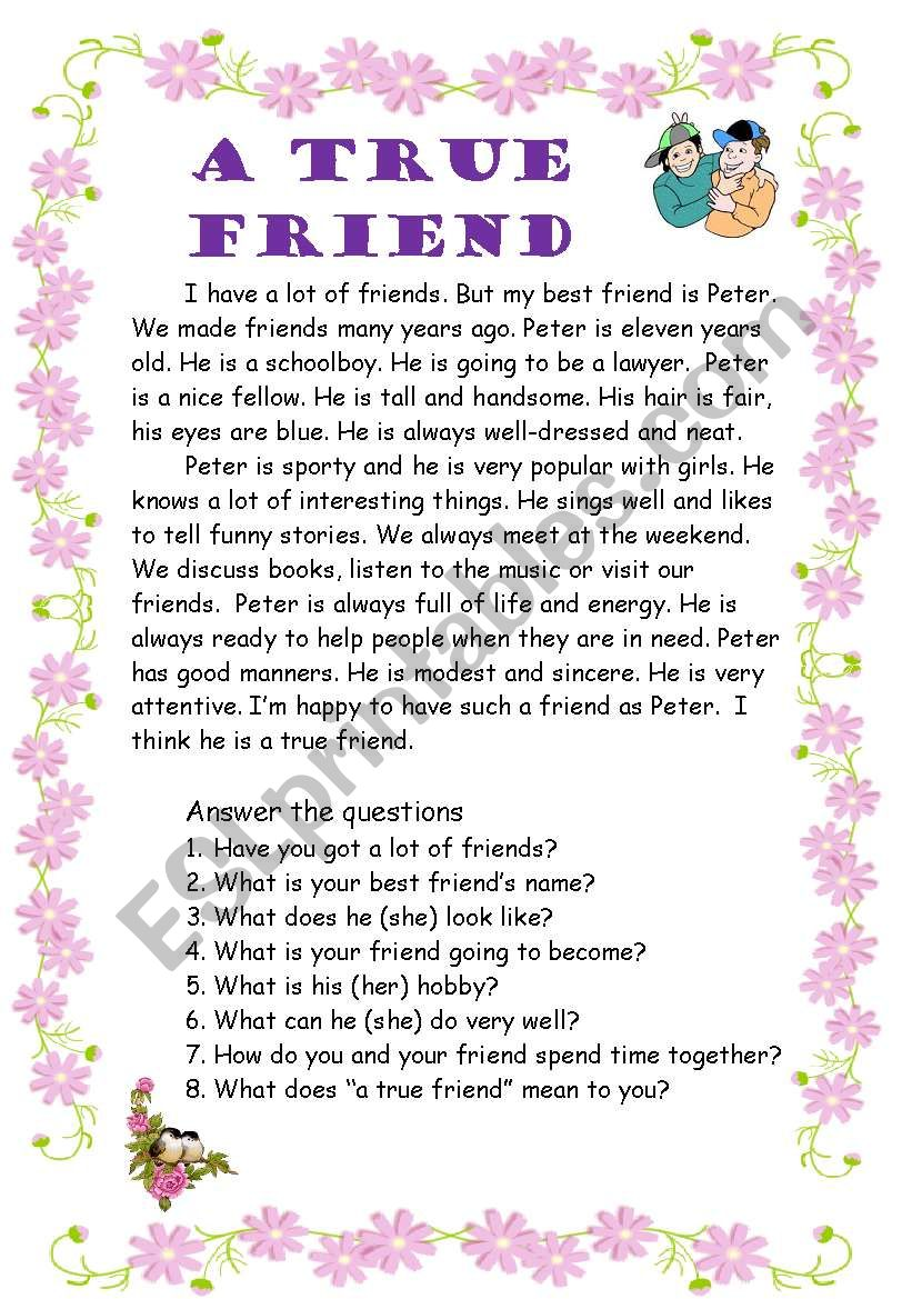 A true friend worksheet