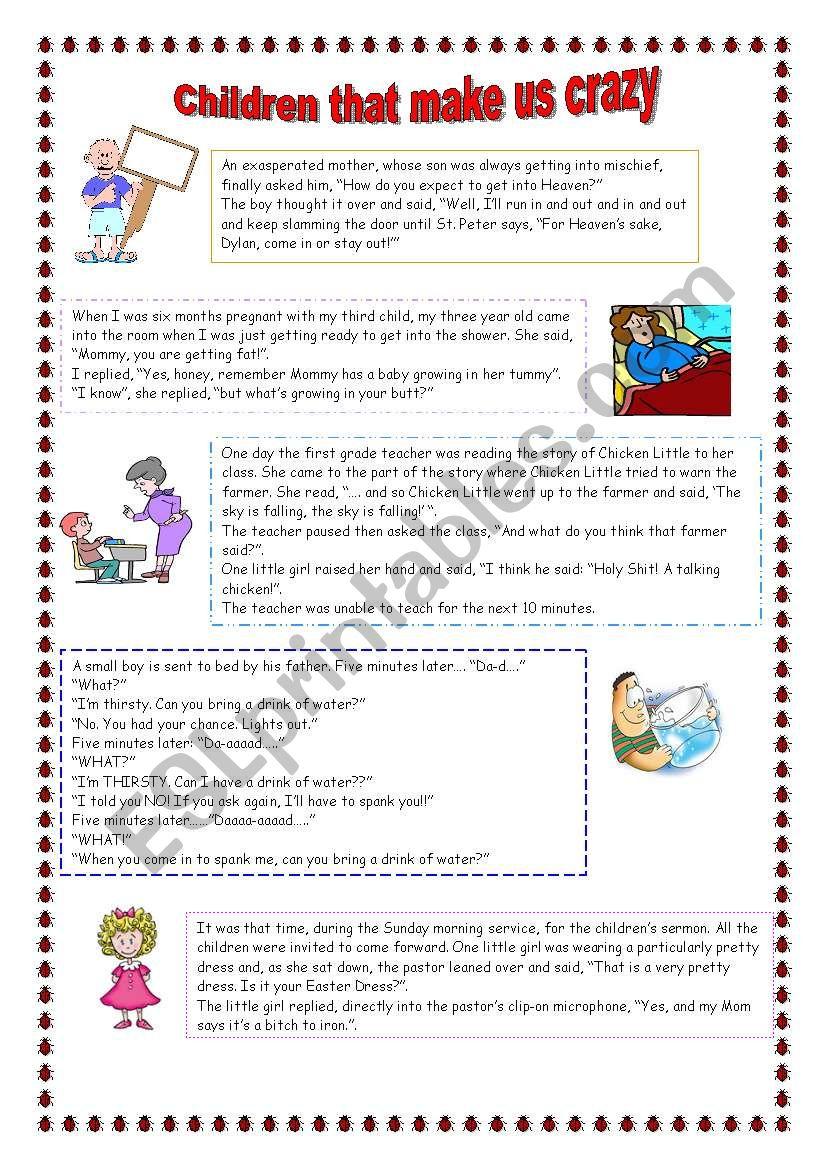 Jokes about children - ESL worksheet by leva