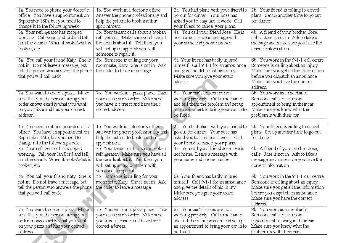 Telephone Conversations worksheet