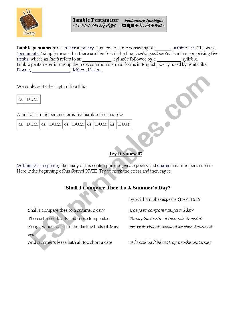 English worksheets: iambic pentameter