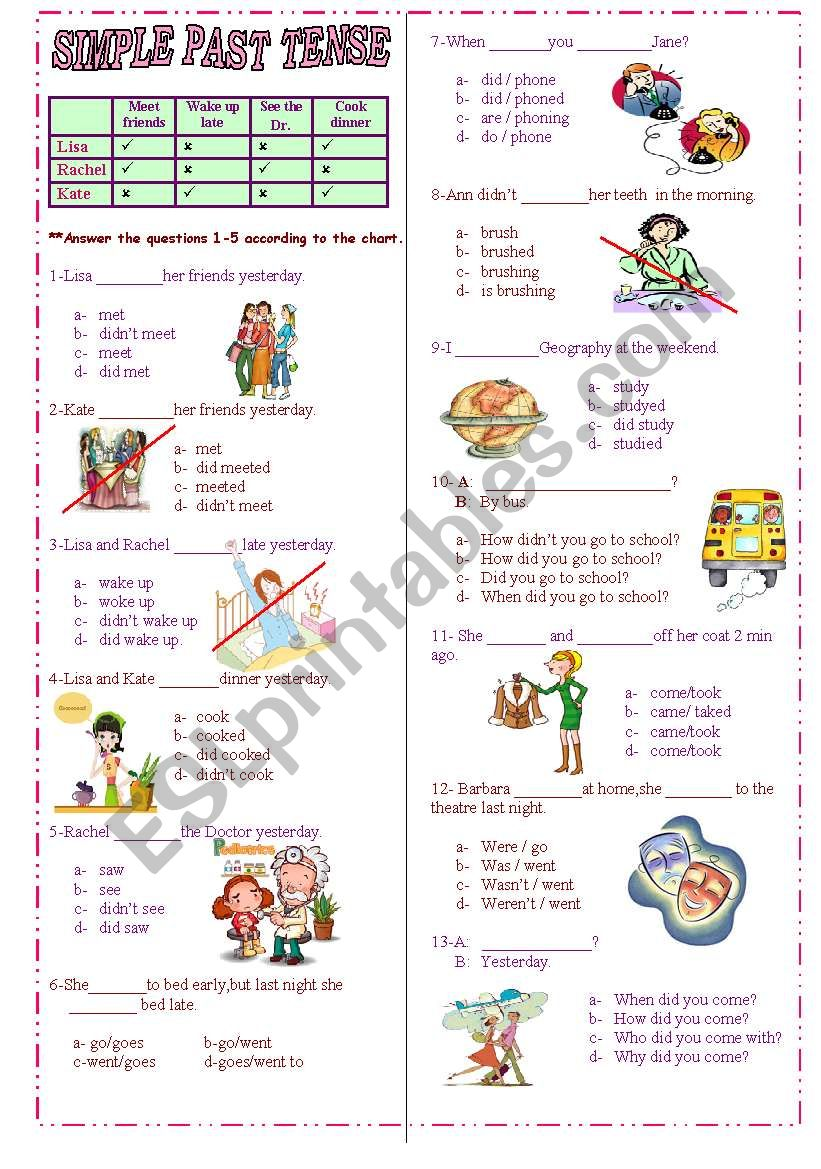 Simple Past Tense test worksheet
