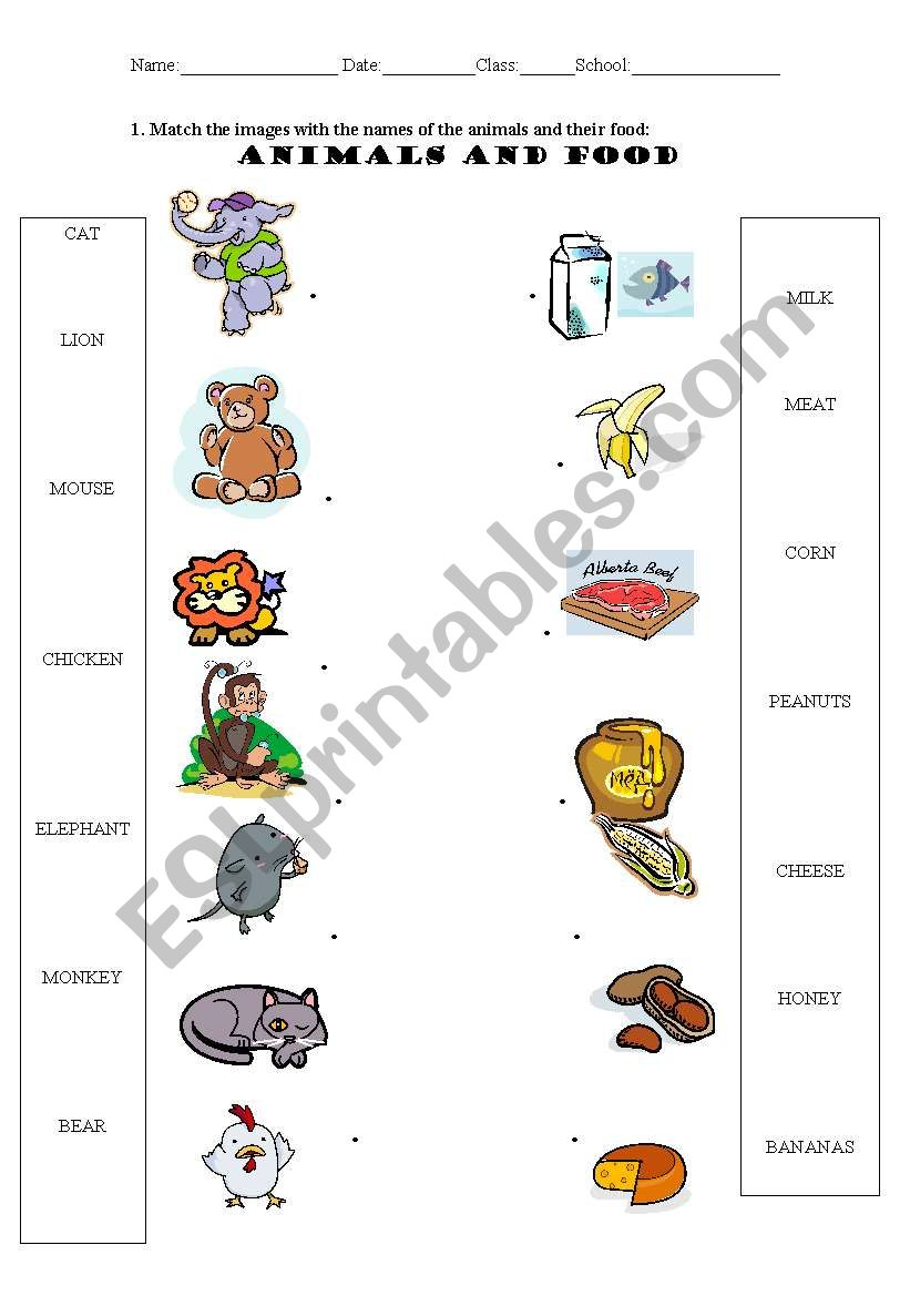 animals and food esl worksheet by serennablack. Black Bedroom Furniture Sets. Home Design Ideas
